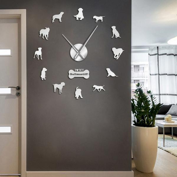 Large Sized Dog Breed Domestic Dog Bullmastiff DIY Giant Wall Clock Home Decor Pet Shop Pet Clinic Wall Art Big Watch Timepiece - #Breed #bullmastiff #clock #domestic #giant #large #sized - #LargeWallMirror