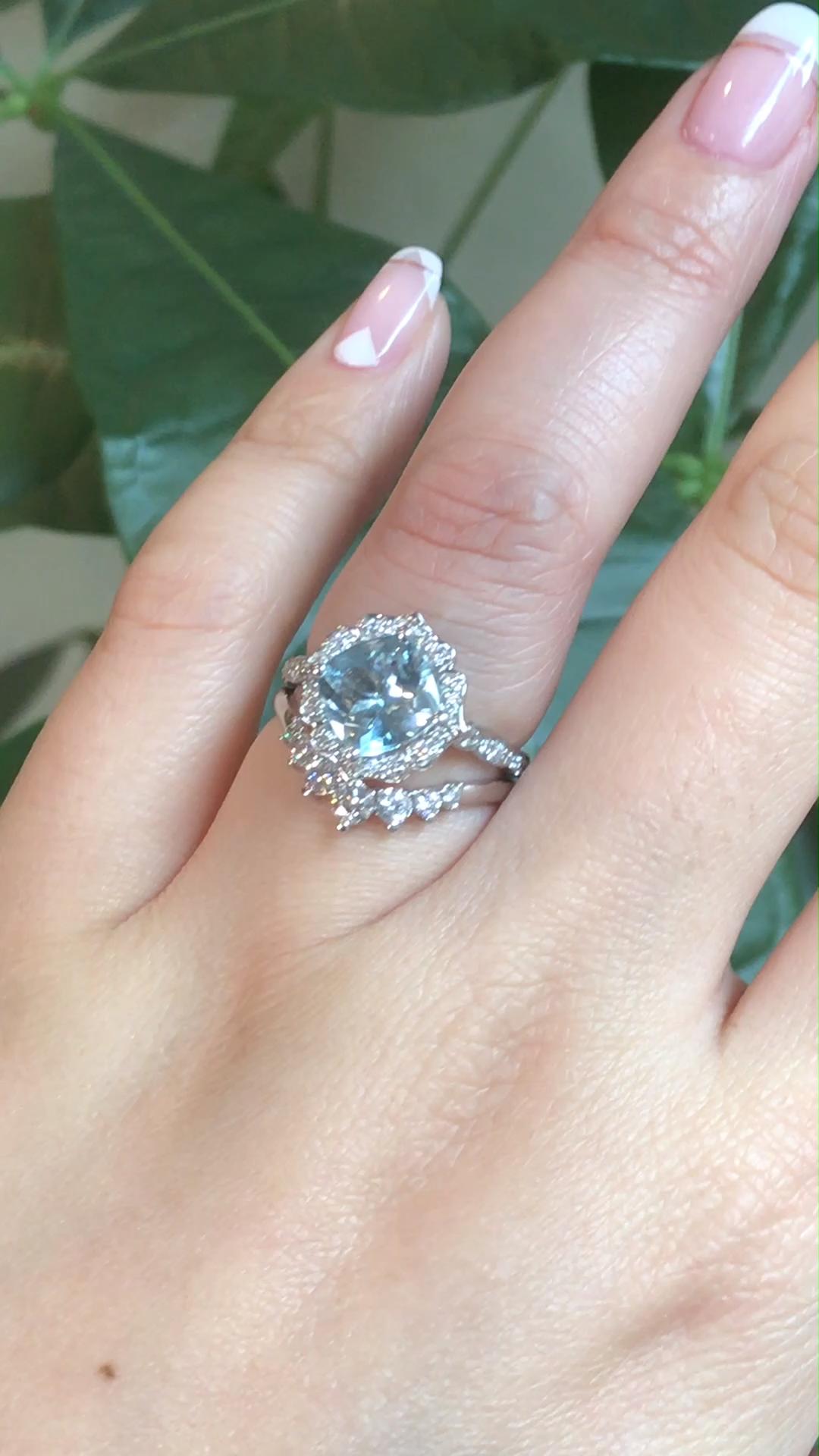 Aquamarine Vintage Floral Bridal Ring Set by La More Design #aquamarineengagementring