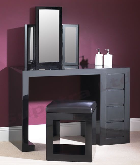 small black vanity table. Furniture  Dressing Table Black Wooden With Glossy Chair Mirrors Frame Purple Wall White Floor Get Tables Uk Features Lacquer Single Side Drawers Your Pinterest likes