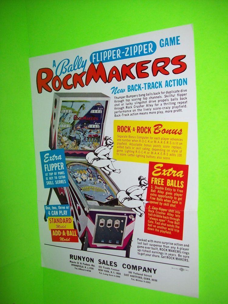 Bally ROCKMAKERS Original 1968 Flipper Game Pinball Machine