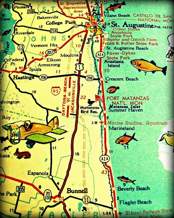 ST AUGUSTINE retro florida map photo by VintageBeachMaps http ... on beaches of st augustine area map, st augustine on map, hotel st. augustine fl map, st. johns county florida map, florida history map, city of st. augustine fl map, lehigh florida map, old st. augustine fl map, sanborn st augustine florida map, red train st augustine map,