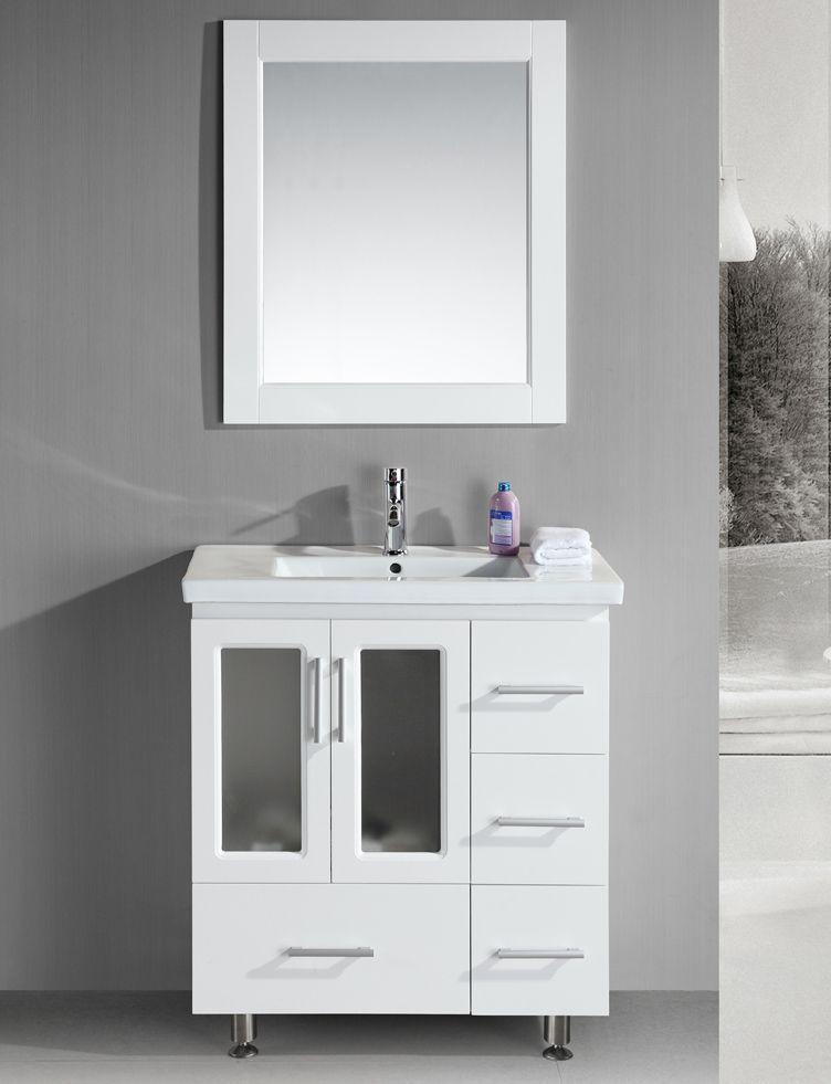 32 inch Contemporary White Bathroom Vanity Set #bathroomvanitytops
