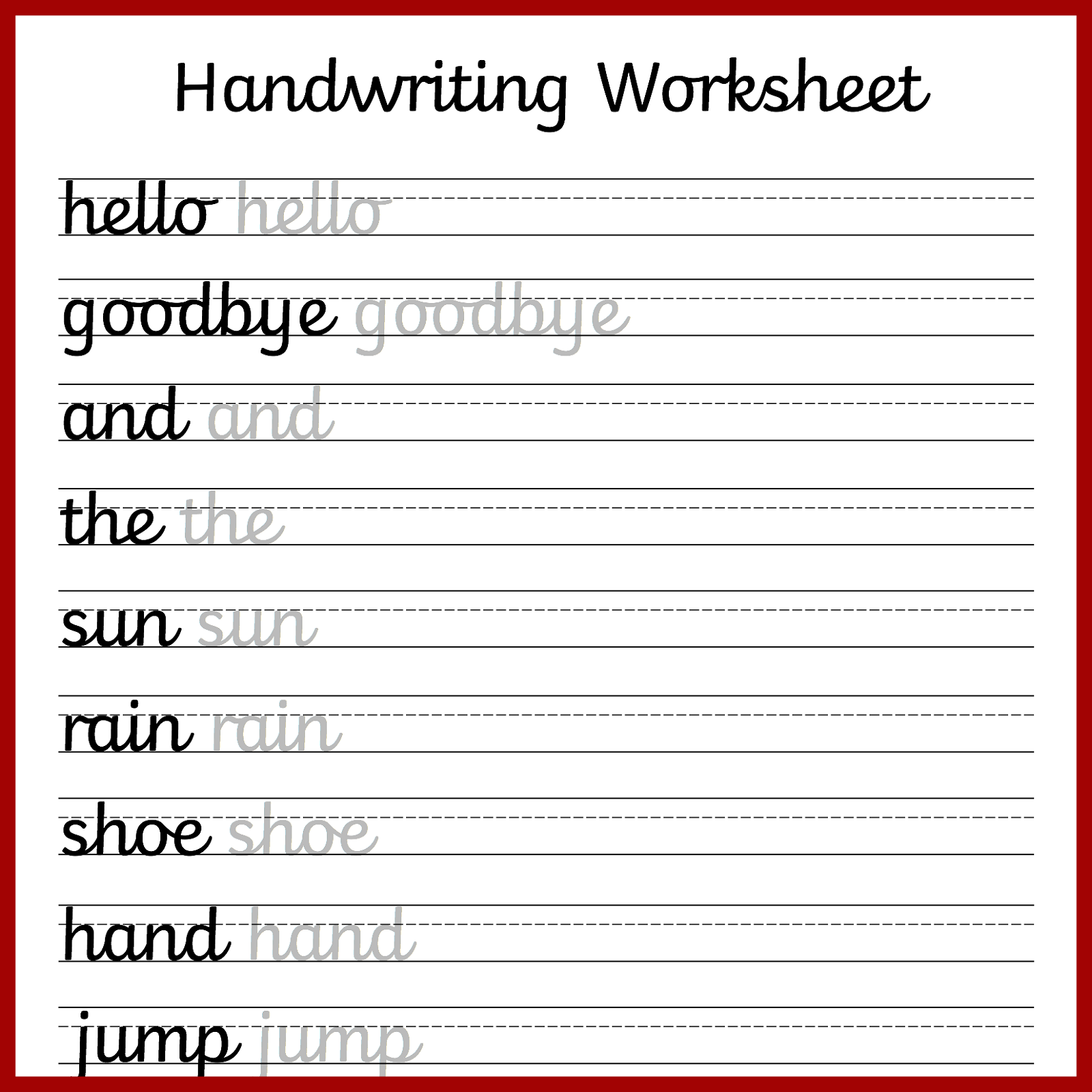 Hand Writing Worksheets For Students