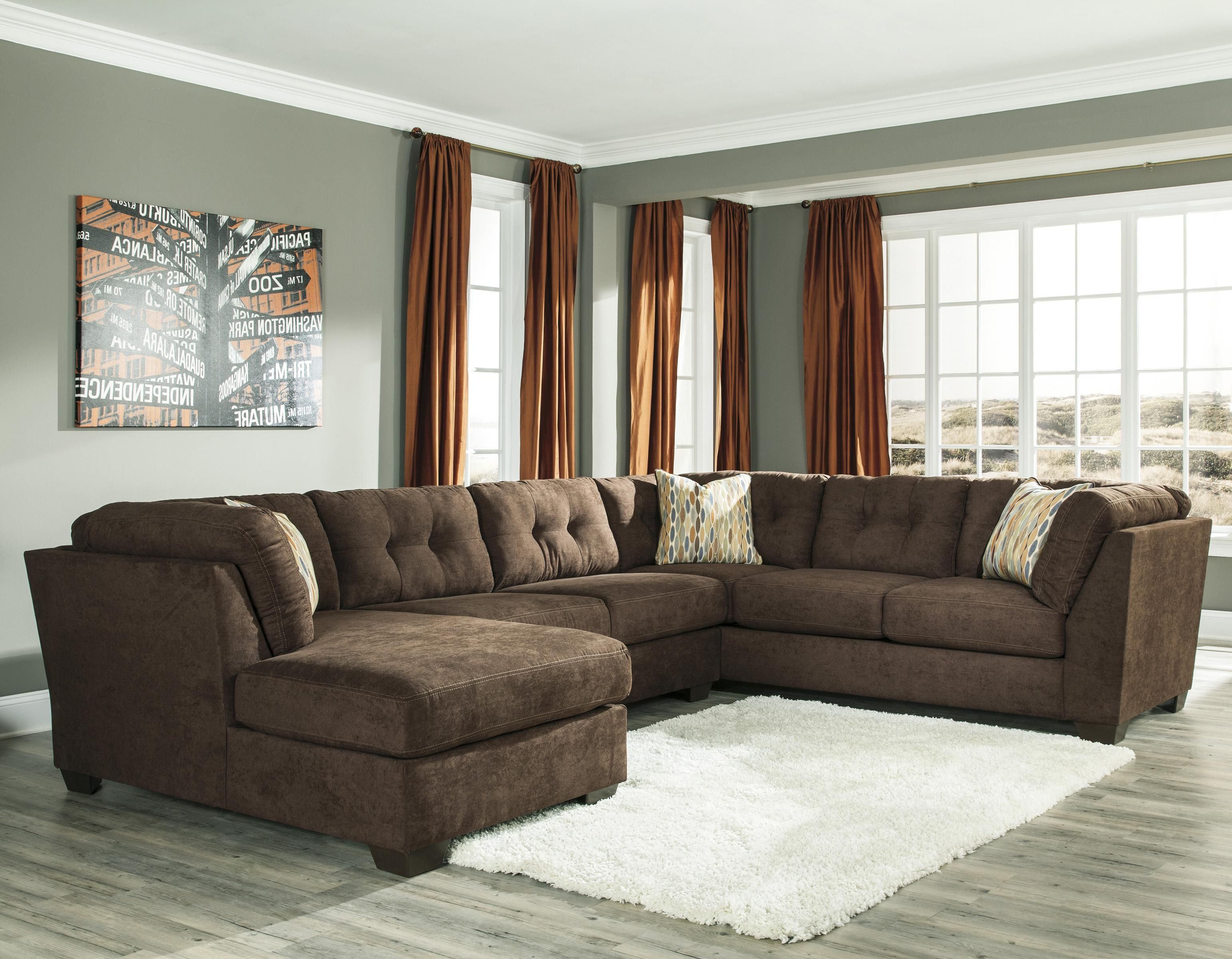 Ashley/Benchcraft Delta City   Chocolate 3 Piece Modular Sectional With  Left Chaise