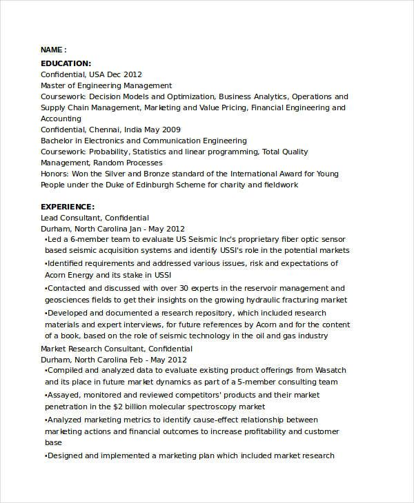 Marketing Research Consultant Resume , Marketing Resume Samples - statistical consultant sample resume