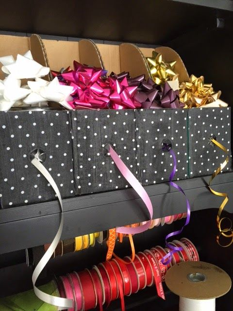 Ribbon And Bow Organizing With Magazine Holders Gift Wrap