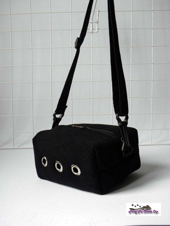 Made to order sugar glider rat small animal travel bag black fleece
