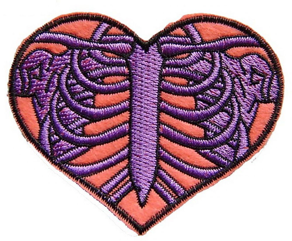 Skeleton heart ribcage iron on patch embroidery applique ...