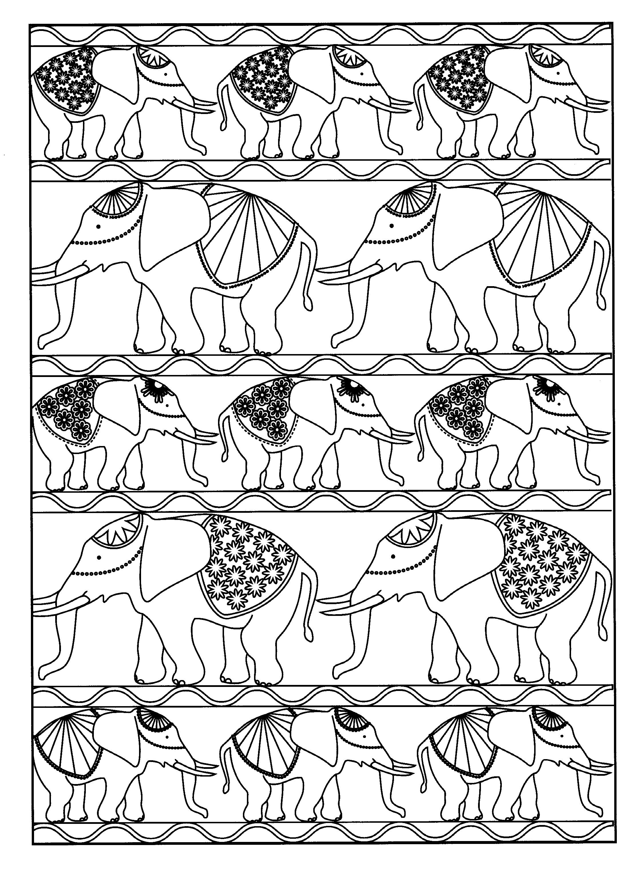 Free coloring page «coloring-adult-elephants».