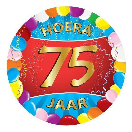 25 stuks vrolijk gekleurde bierviltjes voor een 75ste verjaardag met 75 jaar opdruk. Dubbelzijdig bedrukt.