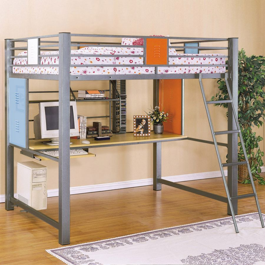 Kids bedroom graceful colored child bunk bed decorating for Modern bunk bed with desk