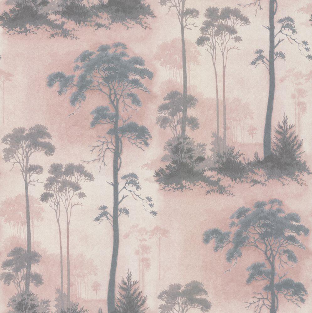 Wanders blue wanders forest flocked wallpaper damask wallpaper - Prior Park Grey Blush Wallpaper By 1838 Wallcoverings