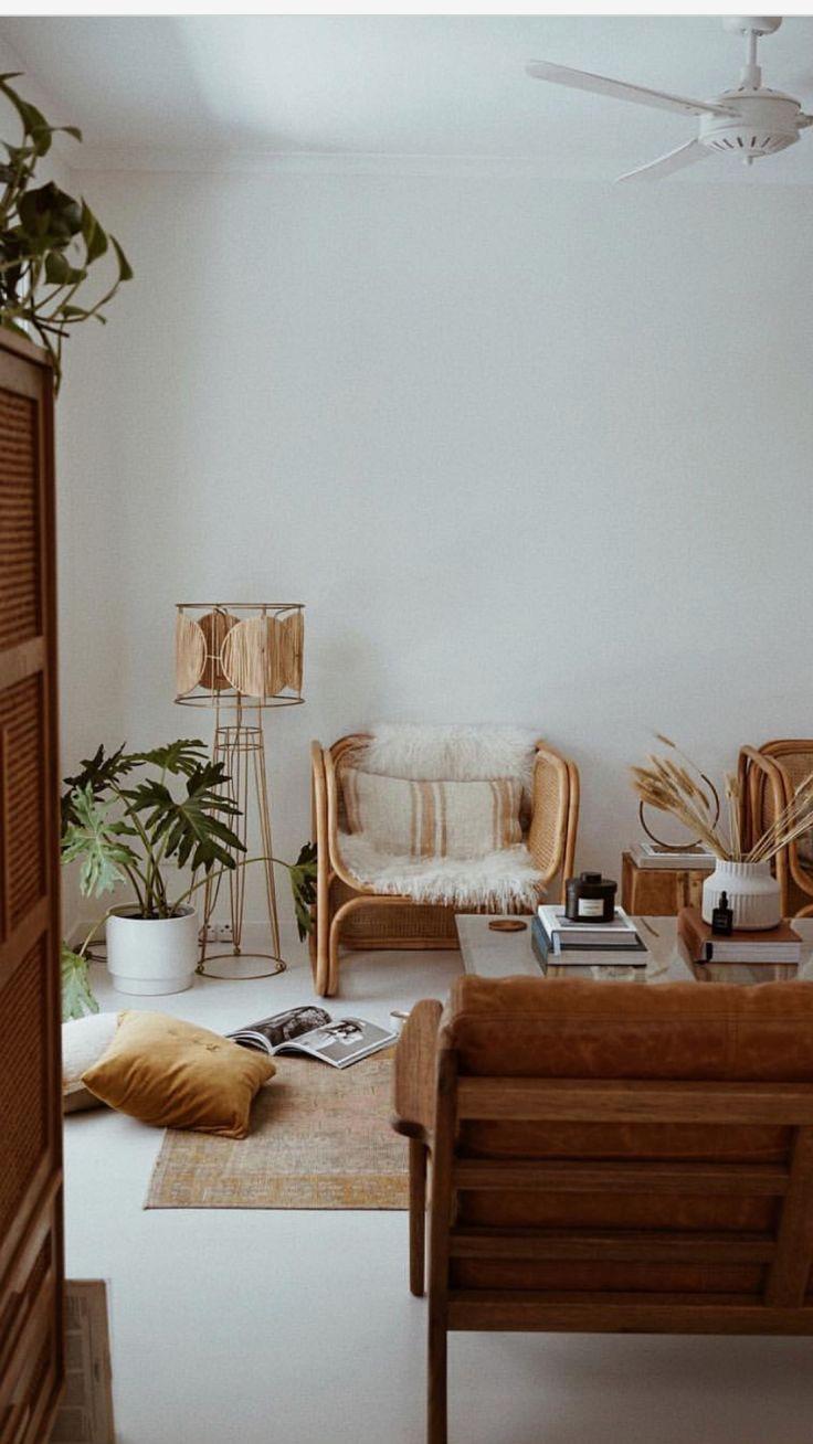 Naturtöne Boho Wohnzimmer - Eine Mischung aus Mitte der