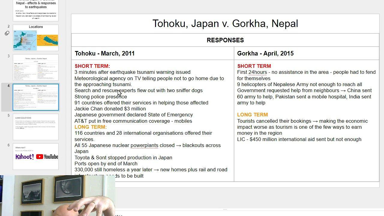 AQA GCSE Case Study Geography Japan v Nepal earthquakes