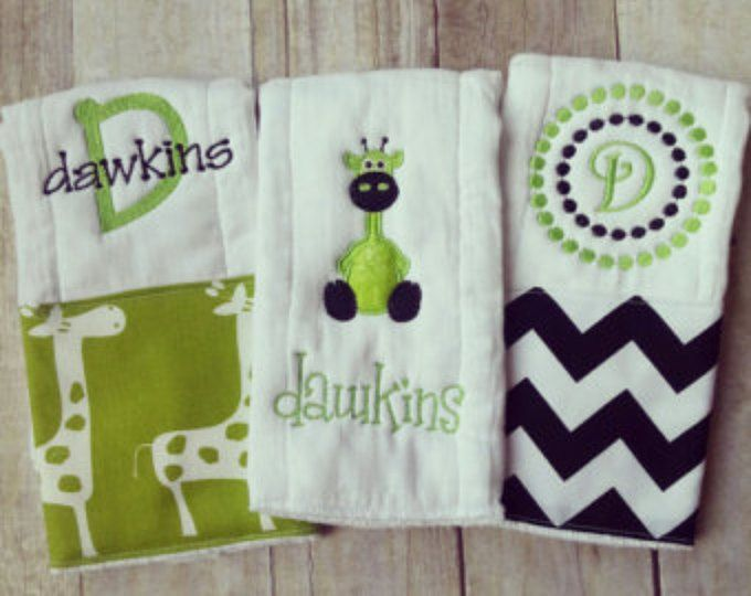Personalized baby boy burp cloths lime safari giraffe baby gift personalized baby boy burp cloths lime safari giraffe baby gift negle Images