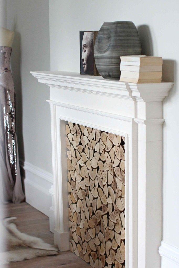 Faux fireplace surround on plain wall | Home ideas | Pinterest ...