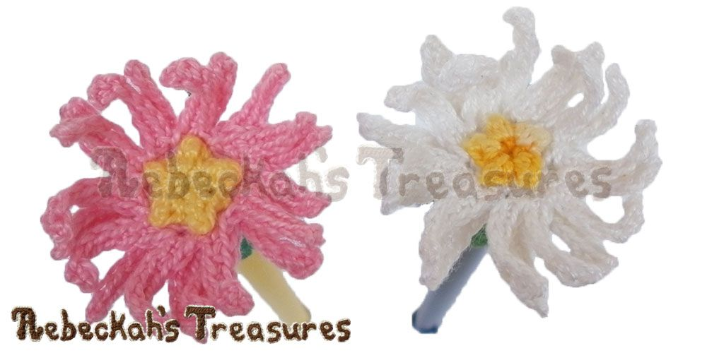 Dainty Daisy Pencil Topper - free crochet pattern from Rebeckah\'s ...