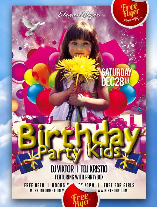 Birthday Party Kids Free Flyer PSD Template Graphics Pinterest - birthday flyer template