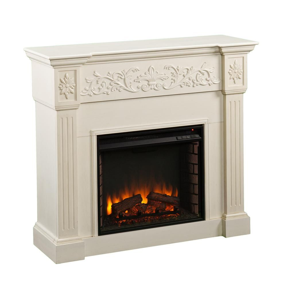 Dunkirk 44 5 In W Carved Electric Fireplace In Ivory Hd90435 Electric Fireplace Best Electric Fireplace Fireplace