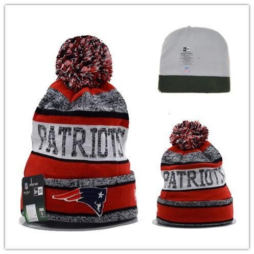 promo code a32a5 4bf89 Men s   Women s New England Patriots New Era NFL Sports On-Field Stripes  Knit Pom Pom Beanie Hat - Red   Grey