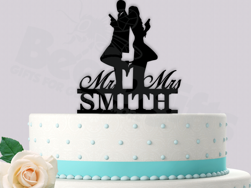 Mr Mrs Smith Inspired Personalized Wedding Cake Topper | Vow ...