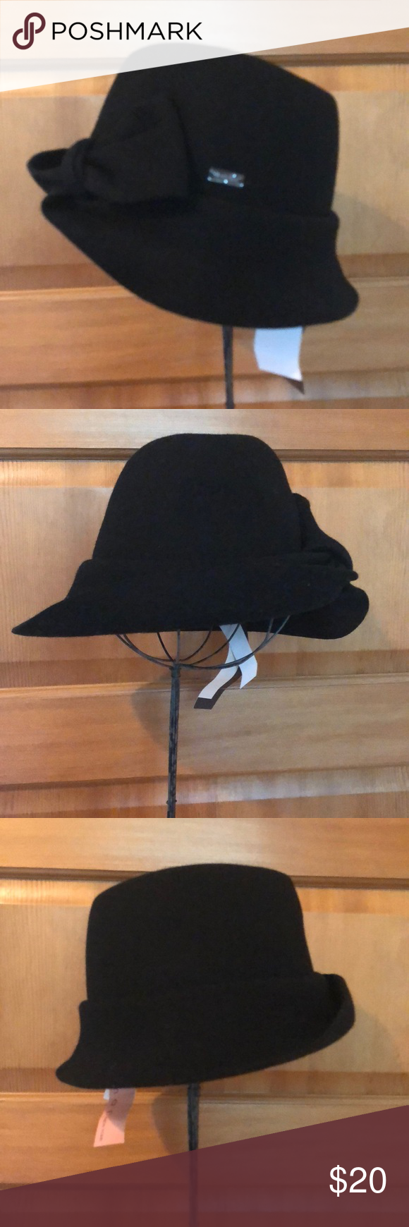 f519a2d158e007 Betmar black wool fedora style hat with knot brim detail. O/S adjustable  fit. New with tags/never worn. Smoke free home. Betmar Accessories Hats