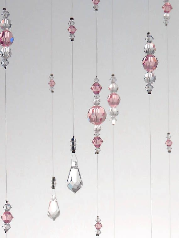 Small Light Pink Baby Girl Room Idea Mobile Suncatcher Bling Nursery Decoration Babyshower Gift Swarovski Crystal Chandelier Bling Birthday