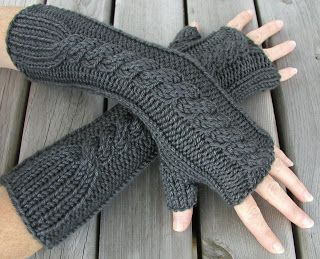 These Cable Fingerless Gloves Are Knitted Flat On Straight