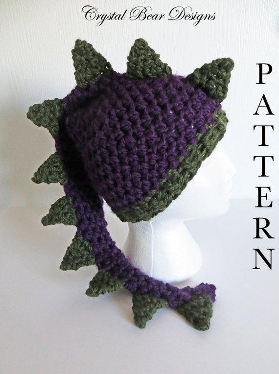 Crochet Dinosaur Hat PATTERN   Dragon Hat   Childrens Crochet Patterns    Adult Teens Child Toddler   ea52ba6561e