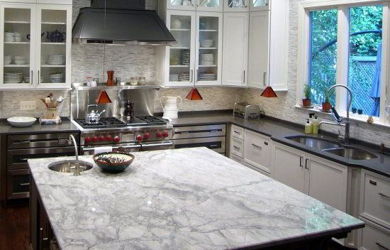white fantasy quartzite kitchen island countertop looks like carrara marble design ideas. Black Bedroom Furniture Sets. Home Design Ideas
