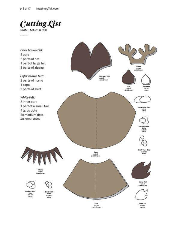 Reindeer PATTERN DIY costume mask sewing tutorial creative play ...