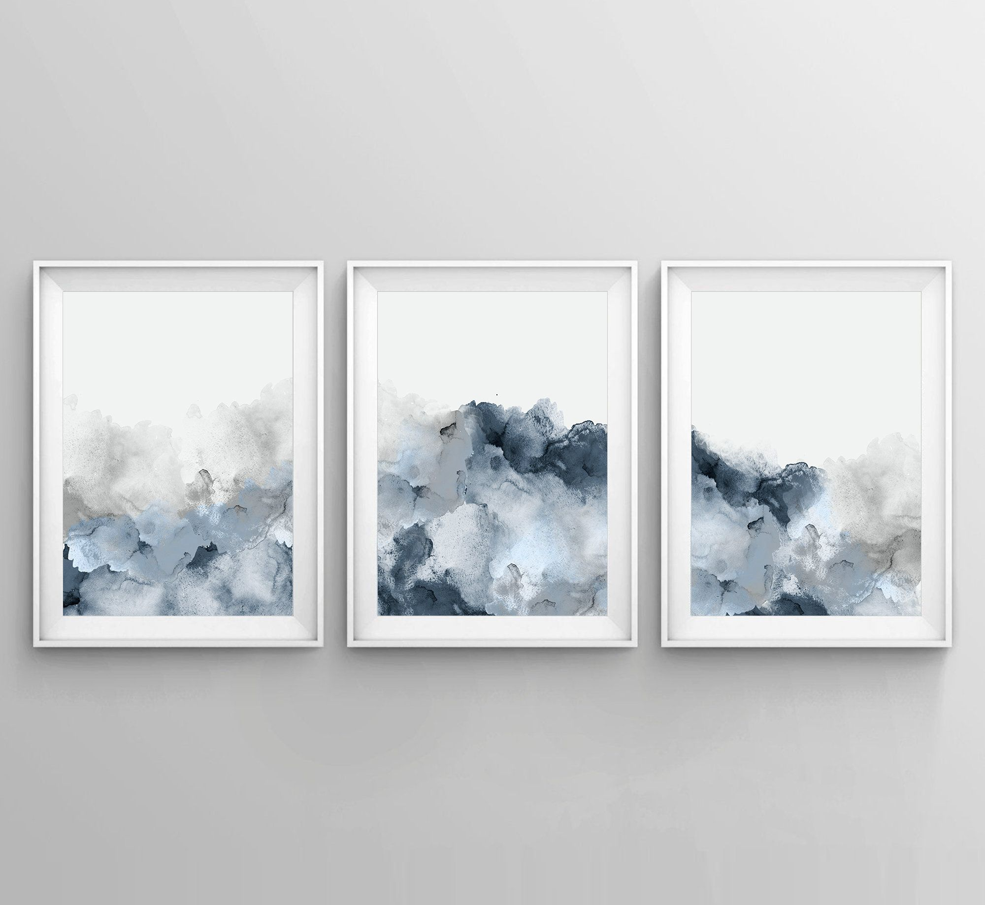 Set Of 3 Blue Gray Wall Art Printable Abstract Art Blue Grey