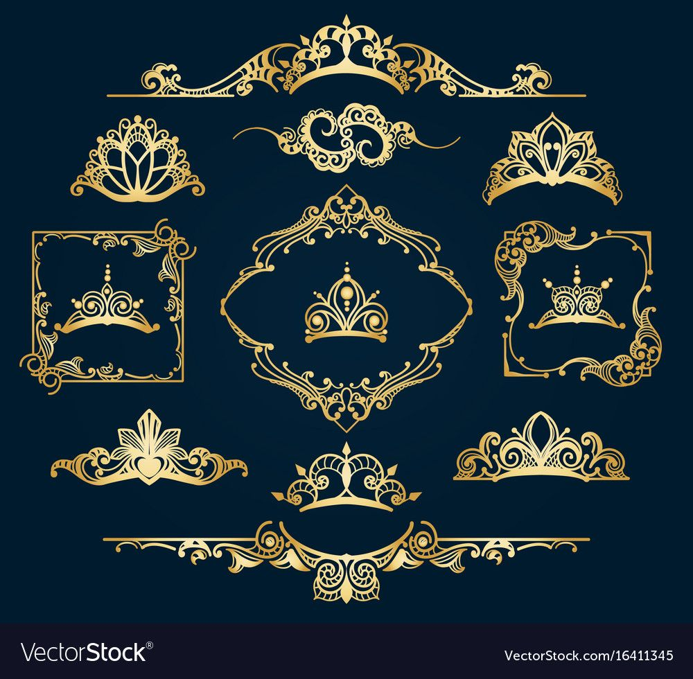 Victorian Style Golden Decor Elements Royalty Free Vector
