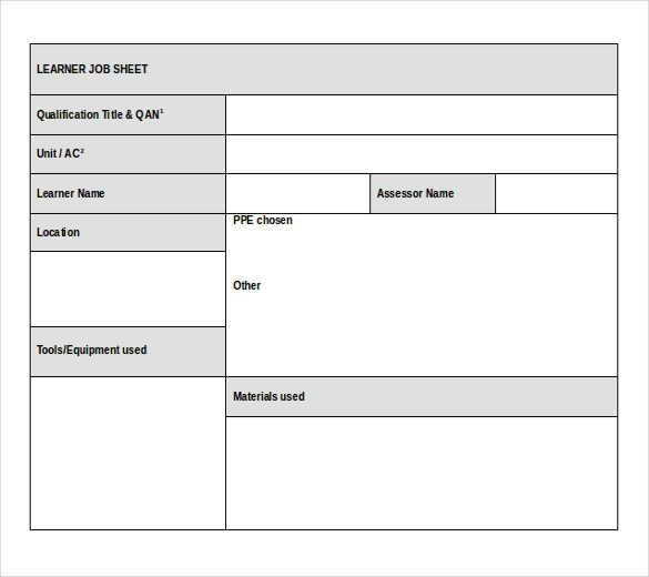 14 job sheet templates printable word excel pdf