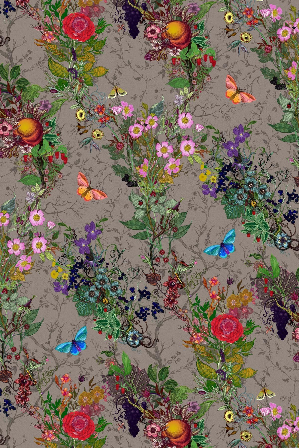 Timorous Beasties Fabric Bloomsbury Garden botanical