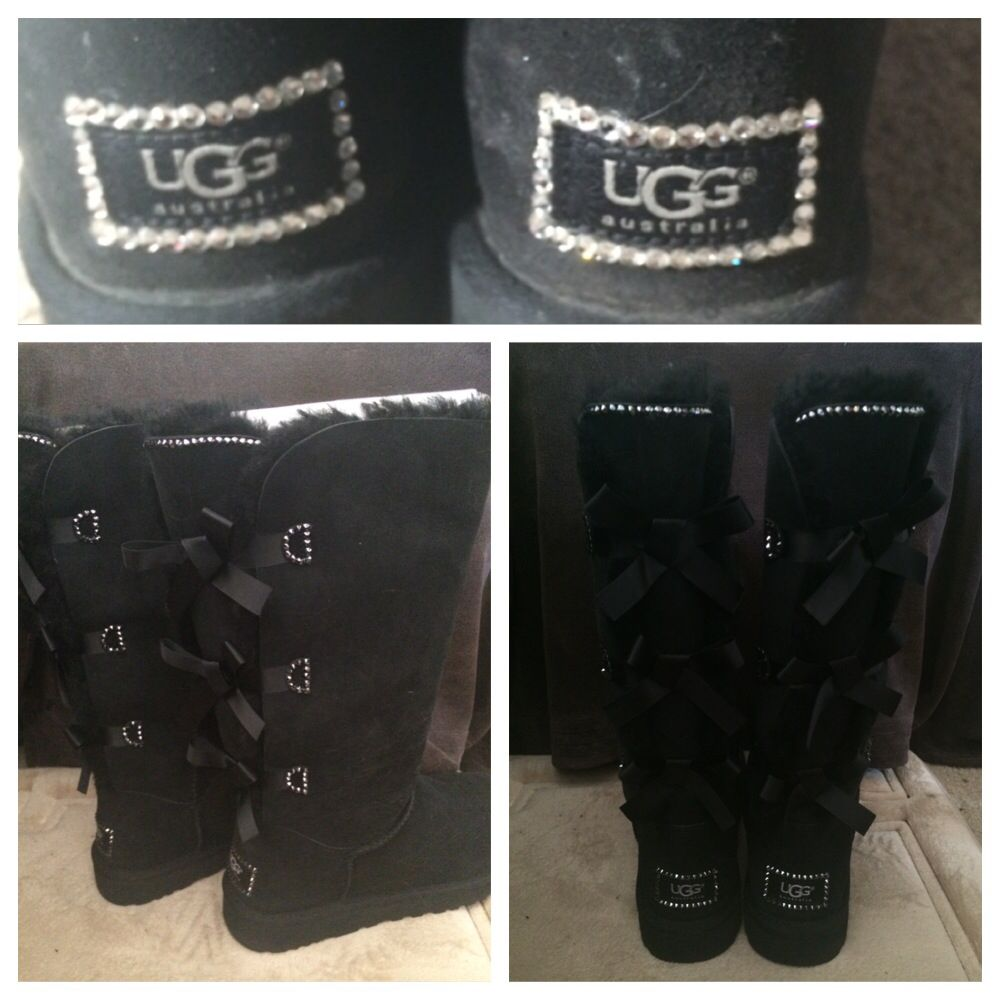 Crystaled Uggs and Crystaled Tall Bailey Bow Uggs