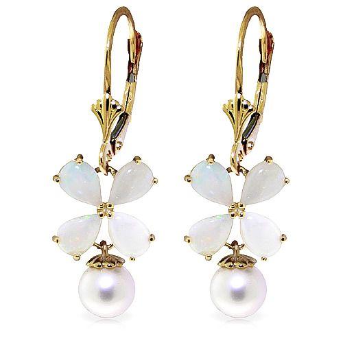Opal and Pearl Drop Earrings 6.0ctw in 9ct Gold #Gemstones #Jewellery #GemstoneJewellery