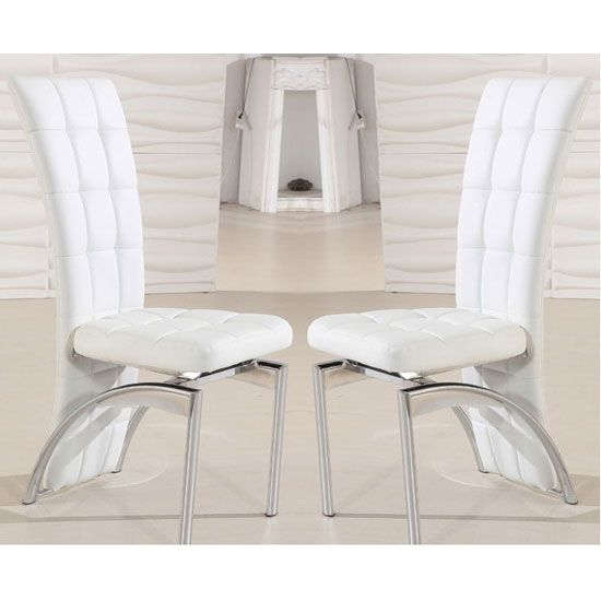 2 Ravenna White Faux Leather Dining Room Chairs For