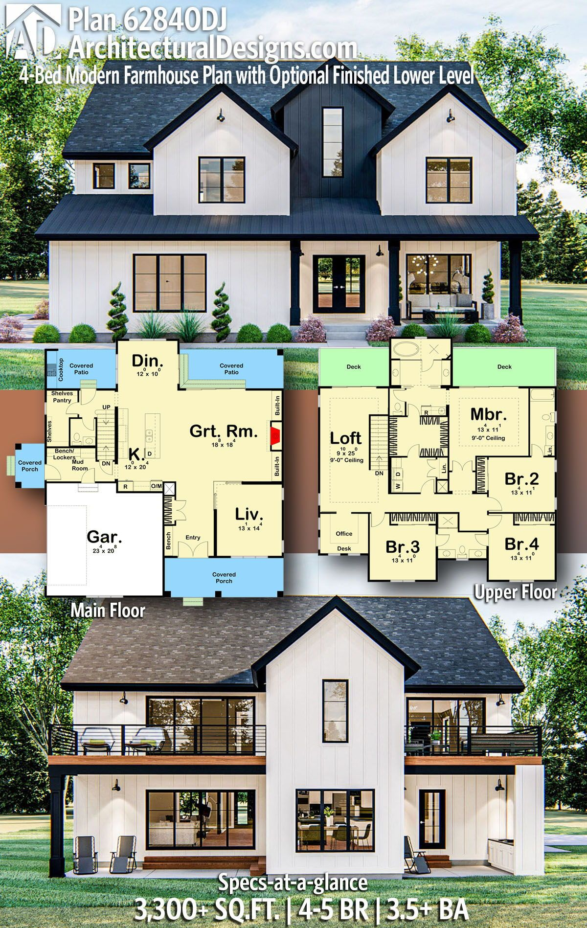 House Plan 62840DJ: 4-Bed Modern Farmhouse Plan with Optional Finished Lower Level