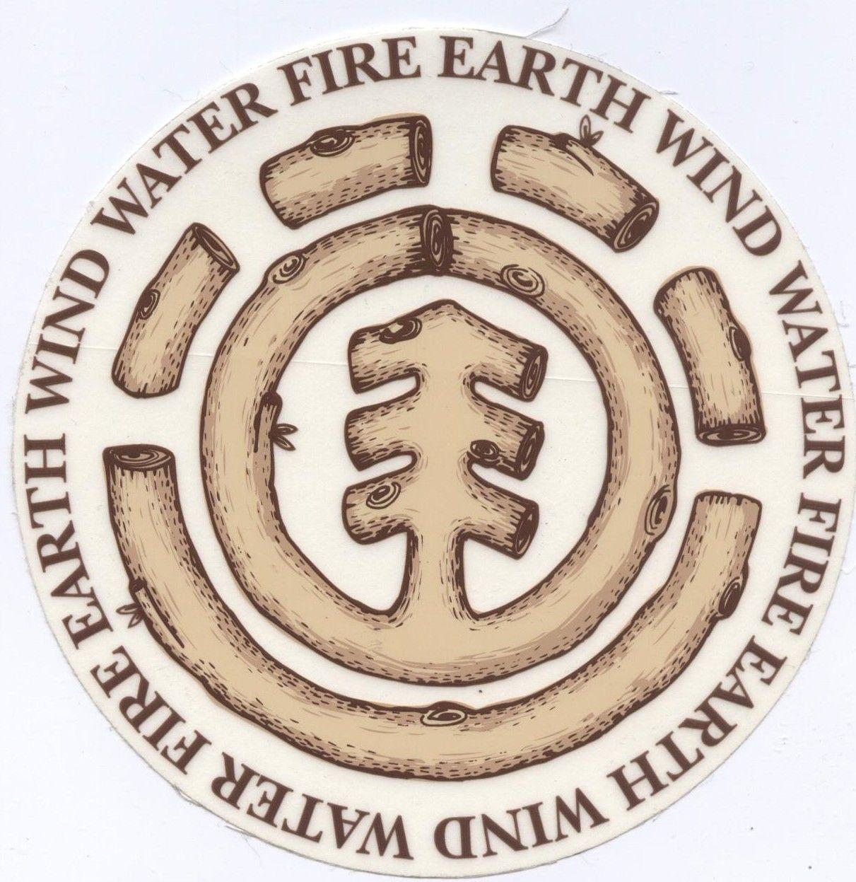 Element Skateboards Earth Wind Water Fire Wooden Logo Sticker Logo Sticker Element Skateboards Wooden Logo