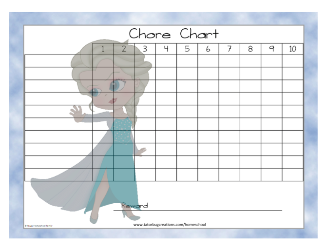 Free Downloadable Chore Chart Disneys Frozen Themed Choose From 3 Characters