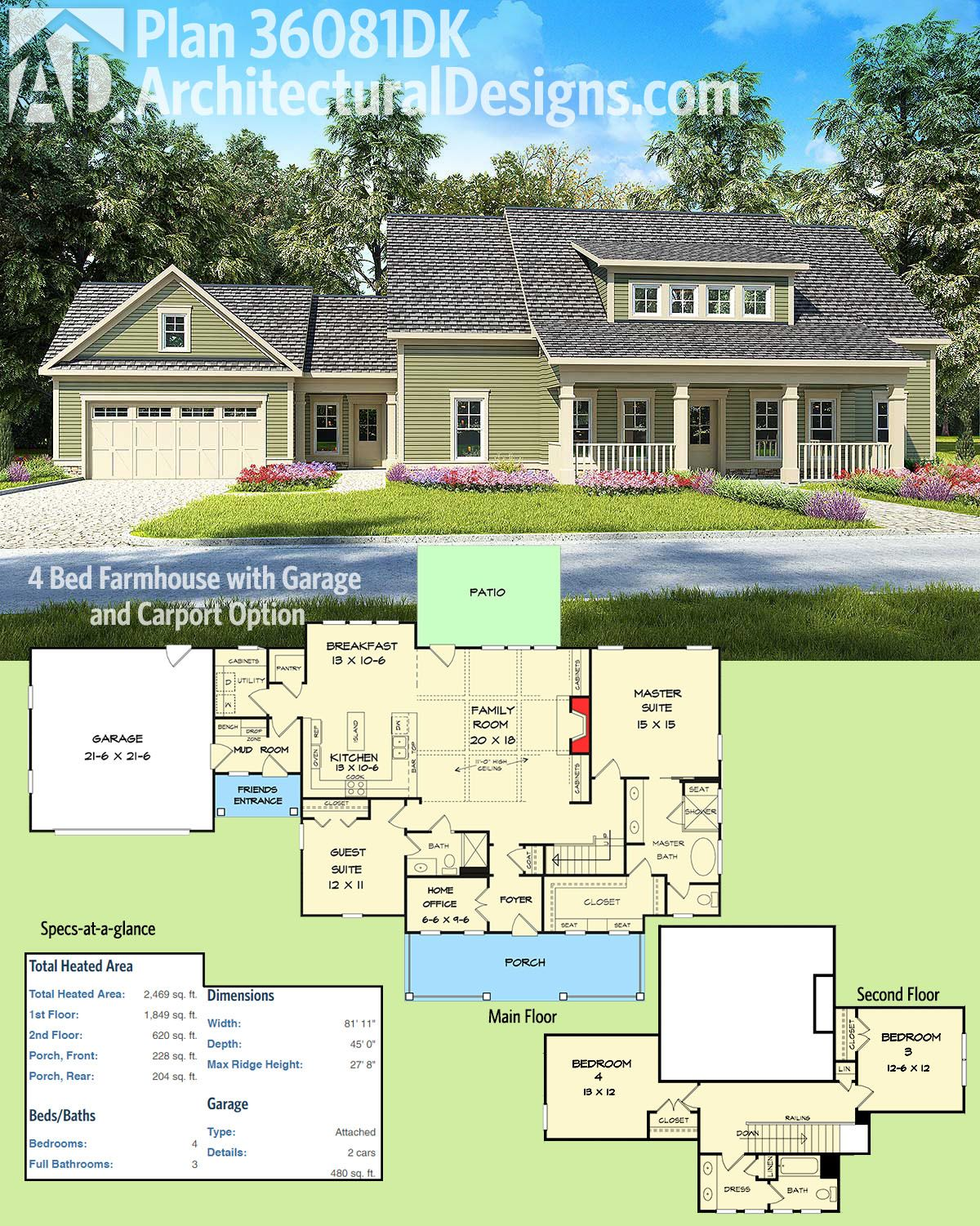 Closing in a carport to make guest suite - Architectural Designs House Plan 36081dk Gives You 4 Beds And Has A Version With A Carport