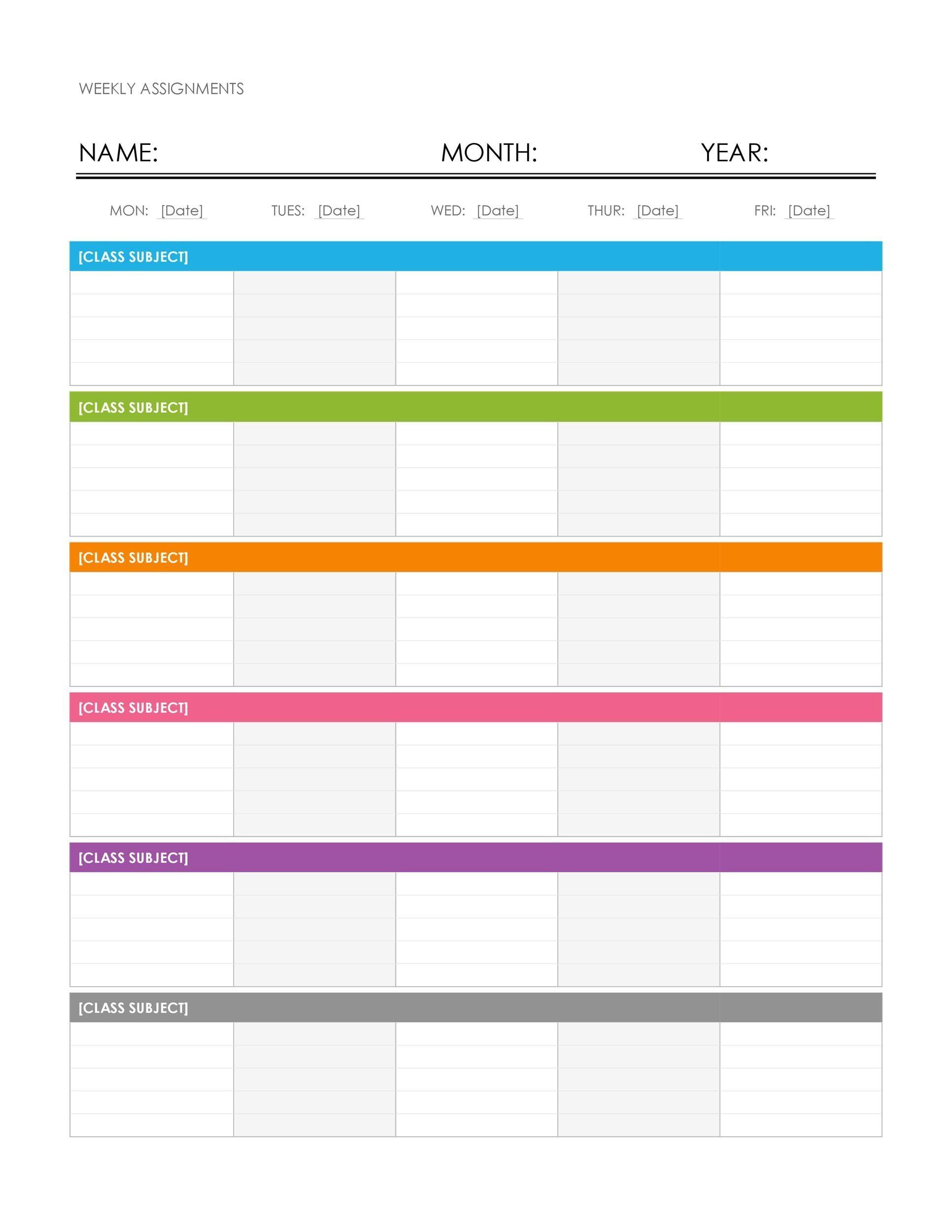 Free weekly calendar Wonderful