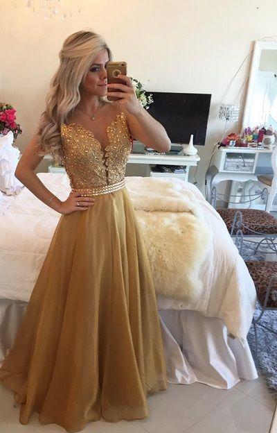 Vestido Dourado Lindo Para Madrinha Casamento Formatura