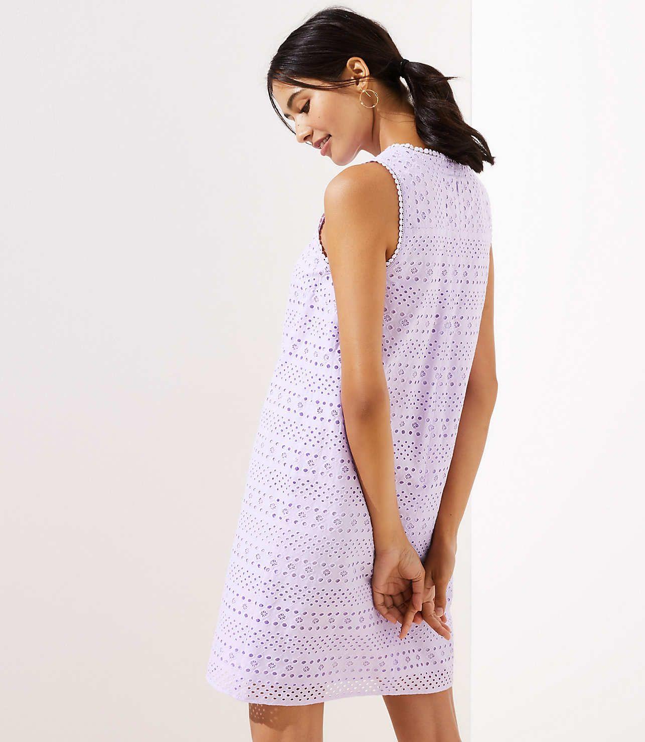 Striped Eyelet Shift Dress Loft Shift Dress Dresses Shoulder Dress [ 1480 x 1286 Pixel ]