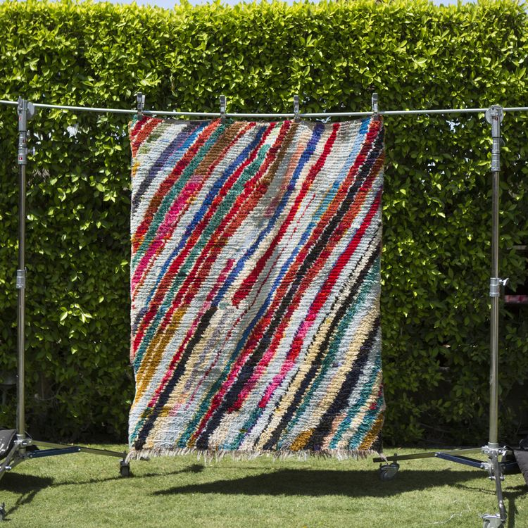 Soukie Modern Vintage Moroccan Boucherouite Rug Textile Handmade Unique Home Decorhome