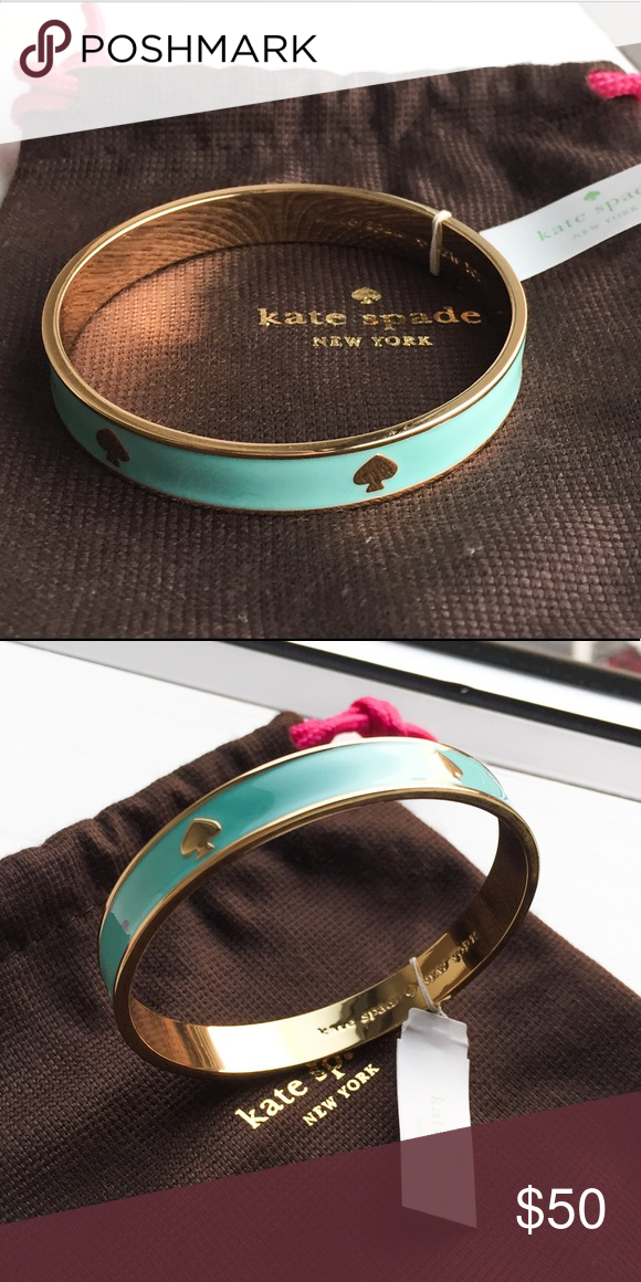 Kate Spade Bangle ♠️, Robins Egg Blue NWT Kate Spade bangle in Robbins Egg blue. This was given as a gift, but is unworn and in perfect condition because my wrist is too tiny. Comes with KS jewelry bag! kate spade Jewelry Bracelets