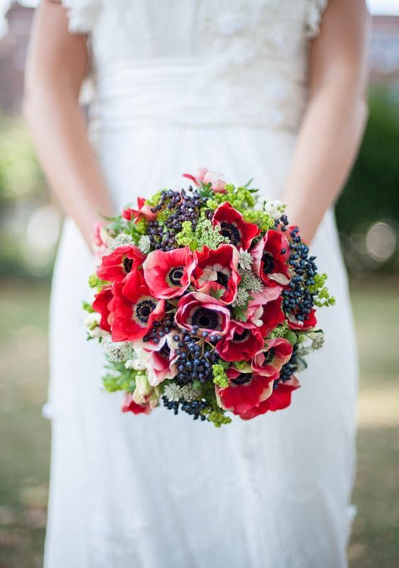 Flowers Hand Tied Bouquet Of Red Anemones And Blue Privet Berries