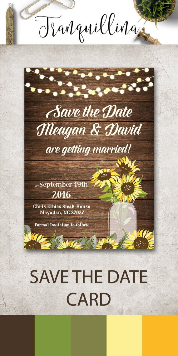 sunflower wedding invitations printable%0A Printable Save the date Card  Rustic Save the Date Card  Sunflower Save the  Date Printable  Mason Jar Save the date  Digital File