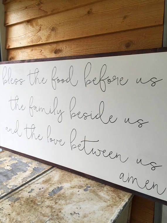 Bless the Food Before Us- Large Wood Sign- Dining Room- Kitchen Wall ...